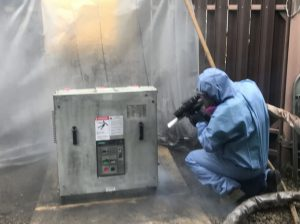 Dry Ice Cleaning a Breaker inside of a Substation